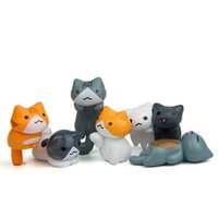 ingrosso miniature garden-6pcs / set Figure di plastica del gatto Micro paesaggio Decorazioni da giardino Miniature Craft Home Decor Spedizione gratuita W9328