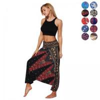 Wholesale loose legged yoga pants for sale - Group buy Women Yoga Beach Harem Pants Thai Flowy Comfy Baggy Boho Gypsy Hippie Trousers Harem Pants Aladdin Yoga Trousers LJJW78