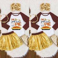 5t vestido de acción de gracias al por mayor-Niños pequeños Bebés Niñas Acción de gracias Tops Mini falda Vestido Trajes Conjunto Ropa