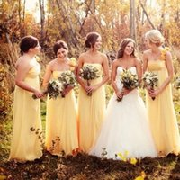 basit sarı şifon nedime elbiseleri toptan satış-Onur BC2147 ait Sevgiliye A Hattı Pileleri şifon hizmetçi tasarlanan ucuz Sarı Ülke Gelinlik Modelleri 2020 Western Garden Bohemian Basit