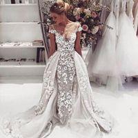 Wholesale custom plus size wedding dresses online - 2019 Lace Mermaid Wedding Dresses With Detachable Train Sheer Neck Lace Applique Illusion Cap Sleeves Court Train Wedding Bridal Gowns