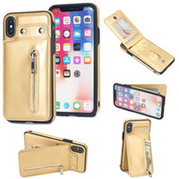 Wholesale armband phone holder online – custom Zipper Leather Cases For iPhone X XS Max XR Plus Leather Phone Case Card Holder Wallet Cover for iphone s plus Case