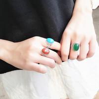 anéis de banda pedra natural venda por atacado-Azul / Vermelho / Verde Onyx Pedra Natural 925 Sterling Silver Vintage Open Cuff Ring Mulheres Recorte Banda Larga S925 Anel de Dedo de Prata Senhora