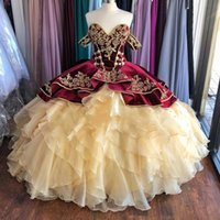 Wholesale yellow green prom dress resale online - New Burgundy and Champagne Velvet Quinceanera Dresses Off the Shoulder Puffy Ruffles Sweet Dress Embroidery Long Prom Gowns