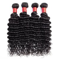 Wholesale indian tangle free hair weave for sale - Group buy 9A Bundles Indian Deep Wave Virgin Hair Weave Natural Color No Shedding Tangle Free Human Hair Weft