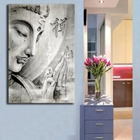pinturas abstractas de buda al por mayor-Retrato de Buda Cartel Moderno Pinturas Abstractas sobre Lienzo Arte Moderno Pared Decorativa Cuadros Para la Sala Decoración del hogar