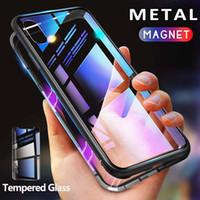 ingrosso custodia in alluminio iphone-Custodia in metallo per adsorbimento magnetico per iPhone 11 Xr Xs Max X 8 Plus Telaio in lega di alluminio a copertura completa con cover posteriore in vetro temperato