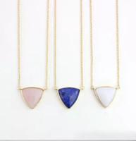 mavi kolye doğal taş toptan satış-Moda Mavi Pembe Kuvars Kolye Üçgen Doğal Taş altın kaplama Kolye kadın takı için
