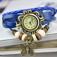 ingrosso orologio in pelle lavorata a maglia-Nuovi orologi a farfalla Orologi da polso fatti a mano in vera pelle Ciondola bracciale da polso al quarzo con polso e farfalla