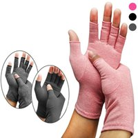 Wholesale fingerless cotton gloves women resale online - Women Open Fingers Compression Gloves Fashion Men Cotton Elastic Hand Pain Relief Therapy Gloves Party Festival Gift TTA1222