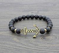 pulseiras de ouro buda venda por atacado-8mm xb344 prata ouro cobre âncora micro pavimentar zircão cz zircônia cúbica pulseira de couro preto fosco bead buddha yoga pulseiras