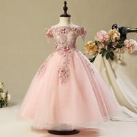 Wholesale hand made full sleeve girl dress for sale - Group buy Flower Girls Dresses Puffy Skirt Full length Little Toddler Infant Wedding Party Communion Formal Dress