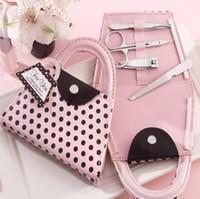 ingrosso novità della borsa-Rosa Polka Dot Purse Manicure Set favore Novità Nuziale Doccia Bridal San Valentino Regalo Bomboniere Presente LX7017