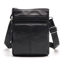 men s leather body bag оптовых-New Vintage Business Men Messenger Bag Genuine Leather Men's Bag Cowhide Leisure Single-shoulder Cross-body Zipper Small