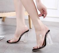 balo topuklu ayakkabıları toptan satış-Sıcak Satış-Sevimli şeffaf PVC kalın yüksek topuk kristal ayakkabı sandalet kadın yaz ayakkabı parti balo boyutu 35-40