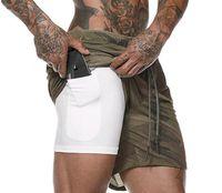 shorts de corrida masculinos venda por atacado-Shorts de Corrida dos homens Mens 2 em 1 Shorts Esportivos Masculinos de Secagem Rápida Exercício de Formação Jogging Ginásio Shorts com Forro de bolso Embutido