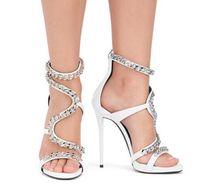 yüksek topuk ayakkabıları siyah yaz toptan satış-Kadın Kayış Metal Zincir Stiletto Yüksek Sandalet 12 CM Yaz Topuklu Ayakkabı Burnu açık Sandalet Kadın Siyah Beyaz Kırmızı renkler