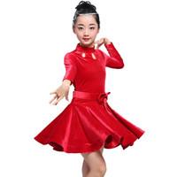 ingrosso abito bambino salsa-2019 ragazze abiti latino per ballare ballo vestito da ballo rumba samba velluto bambini samba cha cha tango gonna salsa standard