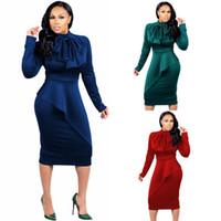 vestido de lápiz peplum xl al por mayor-XL-4XL Más el tamaño de las mujeres Bodycon Vestidos de trabajo de manga larga Peplum vaina lápiz vestido para mujeres Office Lady Wear FS5307