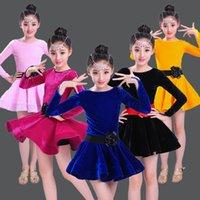 trajes de dança de ouro meninas venda por atacado-Crianças Menina De Veludo De Ouro Vestidos Latin Ginástica Dancewear Competição Traje de Dança Criança Vestido De Dança De Salão Para Meninas