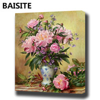 Wholesale wall pictures for home decor for sale - Group buy BAISITE DIY Framed Oil Painting By Numbers Flowers Pictures Canvas Painting For Living Room Wall Art Home Decor E939