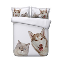 Wholesale queen beds for kids for sale - Group buy Cats Dogs Print Cute Kids Full Duvet Cover Bed Set Bedding Sets For Boys Girls Teen Students Queen Soft Microfiber Comforter Cover