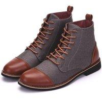 kahverengi yüksek üst elbise ayakkabıları toptan satış-YENİ MODA LÜKS TASARIM HAKİKİ DERİ ERKEK AYAK BİLEĞİ BOOTS YÜKSEK SINIF TOP DANTEL-UP MEN ELBİSE SİYAH KAHVERENGİ TEMEL BOT ERKEK 48 AYAKKABI
