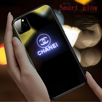Wholesale phone lights call resale online - Suitable for iPhone11 call flash phone case iPhone XS MAX light XR cross border glass protective cover