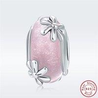çiçek baharı toptan satış-Bahar Çiçek Charm fit Pandora Bilezik Otantik 925 Ayar Gümüş Pembe Cam Papatya Çiçeği Boncuk Noel Takı Yapımı