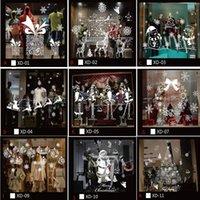 etiqueta de la pared de vidrio puerta al por mayor-Muro de Navidad muñeco de nieve de Santa Pegatina extraíble pegatinas de vinilo Casa Comprar puerta de vidrio etiqueta de la ventana Decoración Adornos De Navidad