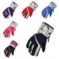 Wholesale snow gloves men for sale - Group buy Children Warm Ski Gloves Fashion Boys Winter Sports Waterproof Snow Mittens Girls Windproof Adjustable Skiing Strap Gloves TA TA1873