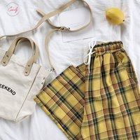estilo das calças amarelas venda por atacado-Calças japoneses Verão Estilo laço amarelo cintura alta Mulheres Stripe manta de algodão Pant inferior Drop Shipping