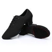 sapatos de dança cm talão venda por atacado-Homens Sapatos de Dança Latina Adulto Dois Pontos Solas Sapatos Não-Couro Casual Macio Base de Dança Macho Oxford Pano De Salto 5 cm