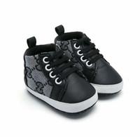 bebek ilk yürümeye başlayan ayakkabı pembe toptan satış-Yeni 0-18 Ay Yenidoğan Bebek Kız Pembe Kahaki Beyaz Pu Deri Prenses Ayakkabı Ilmek İlk Walkers