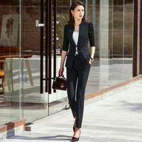 bayan ofis çalışma üniforması toptan satış-Moda Ofisi Bayanlar Pantolon Kadınlar İş Suit Siyah Blazer ve Ceket Set İş Giyim Üniformalar OL Stil giyisi