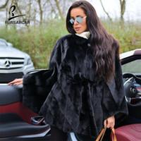 черные пончо для женщин оптовых-FURSARCAR Real Black норка Мысы Natural Шубы Зимняя куртка из натуральной кожи пальто женщин манто Femme Одежда Пончо