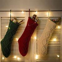broche de navidad de luz intermitente al por mayor-Medias de Navidad de punto duradero Chimenea media de la Navidad de Navidad del partido de Navidad que cuelgan calcetines caramelo Inicio la decoración del jardín