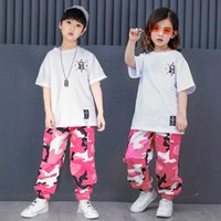 футболка с джаз-танцем оптовых-Pink Camouflage Ballroom Hip Hop Dance Clothing Children Jazz Hiphop Street Dance Costume T-shirt Pants Suit for Kids Boys Girls