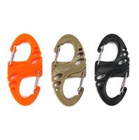 mini crochets mousqueton achat en gros de-Multi-usages en plastique noir S-Biner clip pour Bracelet Carabiner Keychain Porte-clefs crochet Mini avec crochets boucle mousqueton de l'emballage en vrac