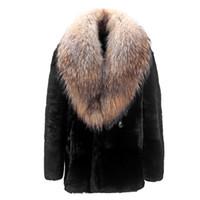 cuello de piel abrigo hombre al por mayor-2019 otoño y el invierno de alta calidad nuevo abrigo de piel de visón cuello de piel de mapache abrigo de visón abrigo de piel de los hombres