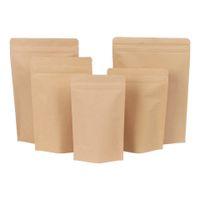 kraft zipper levantar-se sacos venda por atacado-500pcs Zipper Brown Kraft aluminizing bolsa, Stand up kraft papel alumínio saco de plástico Zip Resealable aperto bloqueio selar Food Grade DHL