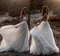 Wholesale plus size beach wedding dresses for sale - Berta New Beach Sexy Wedding Dresses Spaghetti Backless Lace Tulle Bridal Gowns Bohemian Plus Size Country Vestido De Novia