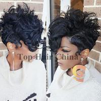pelucas rectas de longitud media rubia al por mayor-Top corto rizado rizado pelo peluca llena simulación peluca humana pelucas sintéticas pelo virginal brasileño malasio indio pelucas para mujeres negras