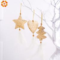 weihnachtsbaum silber stern ornamente großhandel-3 Teile / los SilverGold Christmas TreeStarHeart Feder Tuch Anhänger Ornamente Für Home Christmas Party Weihnachtsbaumschmuck