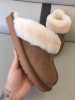 erkekler için en üst kat toptan satış-Marka UG Kadın Erkek Bot Tasarımcı Kürklü Slaytlar Kürk Terlik Sandalet Avustralya kar botları Açık Loafers Kar Ayakkabı Plus Size C72207 Slip On