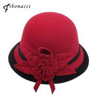 Wholesale felt bucket hats resale online - Fibonacci New Autumn Winter Female Fedoras Lmitation Wool Felt Women Hats Fashion Bucket Floral Fedora