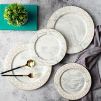europäisches porzellan großhandel-LEKOCH European Style Golddraht Marmor Keramik Geschirr Geschirr Porzellan Dessertteller Steak Salat Snack Kuchen Teller Geschirr