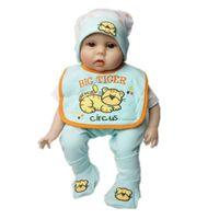 bonecas de tigre venda por atacado-Tiger bonito Padrão Macacão Chapéu Calças Meias Conjunto para 22-23inch Reborn Baby Boy Boneca Presentes de Aniversário Verde