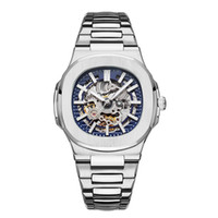 Wholesale modern watches online - 2019 TOP Mens Automatic Watches Designer Modern Mechanical Hollowing Out Steel Fashion Nautilus Watch Business Casual Wristwatches