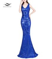 kleider reißverschluss großhandel-Solovedress Shiny Pailletten Abendkleider V-Ausschnitt V-Rücken mit Reißverschluss Neue Muster Frauen Sexy Langes Kleid